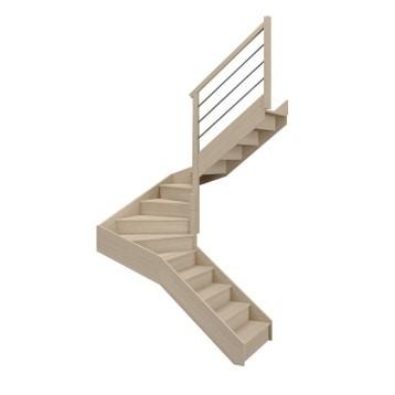 Escalier 2/4 tournant milieu droit bois hêtre