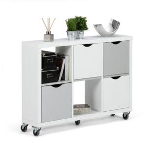 Alinéa, étagères 6 cases blanc et gris avec tiroirs à roulettes - 155,44 €