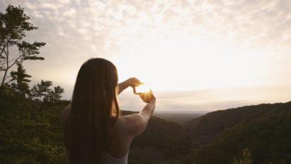 image sur une vue de soleil couchant