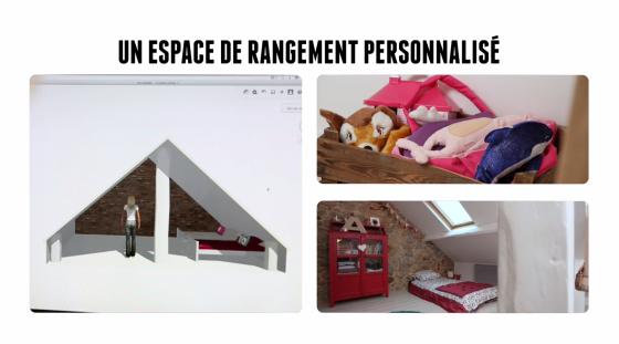 Exemple de rangement personnalisé pour créer un dressing dans une chambre d'enfant