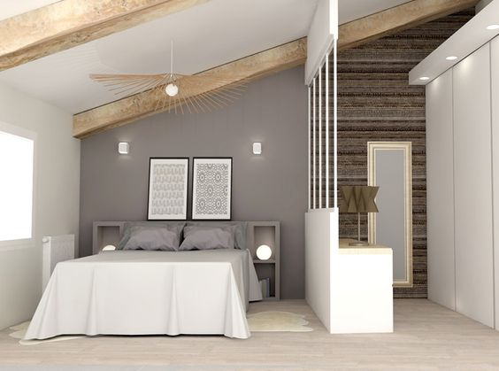 Chambre d 39 enfants cr er deux espaces sous combles r ve de combles - Decoration peinture combles ...