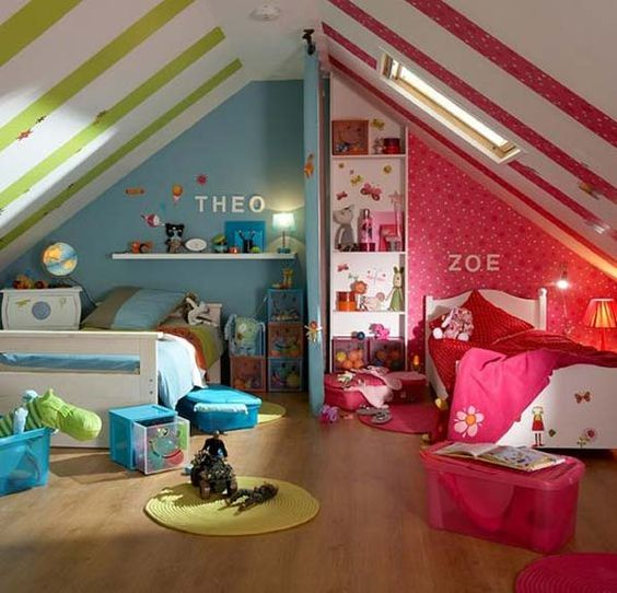 Chambre d\'enfants : créer deux espaces sous combles | Rêve de combles®
