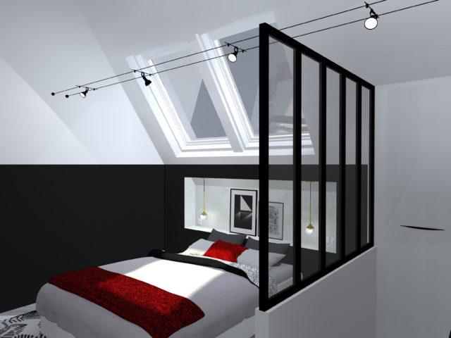 comment am nager 30m en suite parentale sous combles. Black Bedroom Furniture Sets. Home Design Ideas