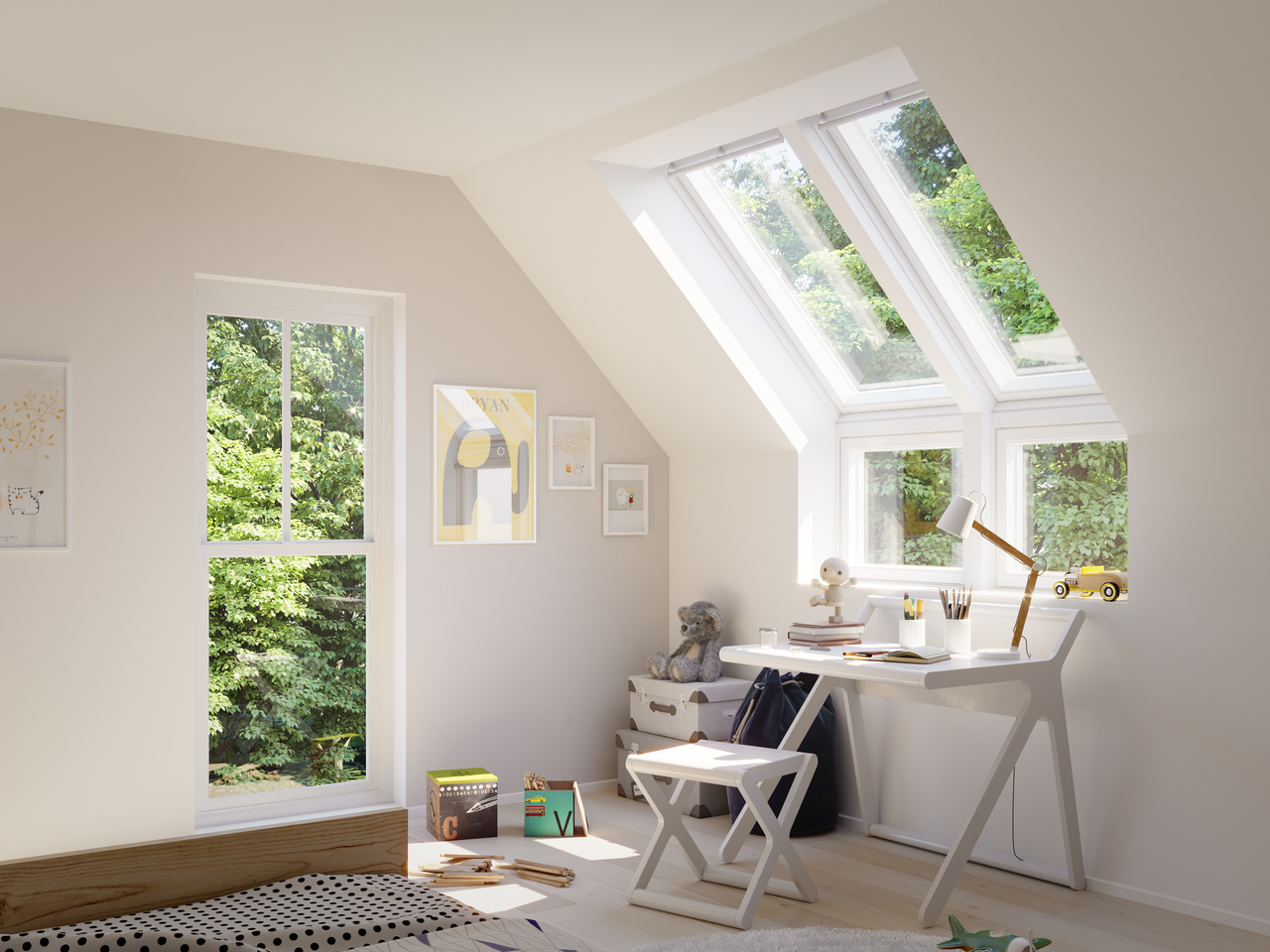 Vue fenêtre de toit extérieur